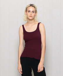 <H>RIB SQUARE NECK TANK TOP/タンクトップ