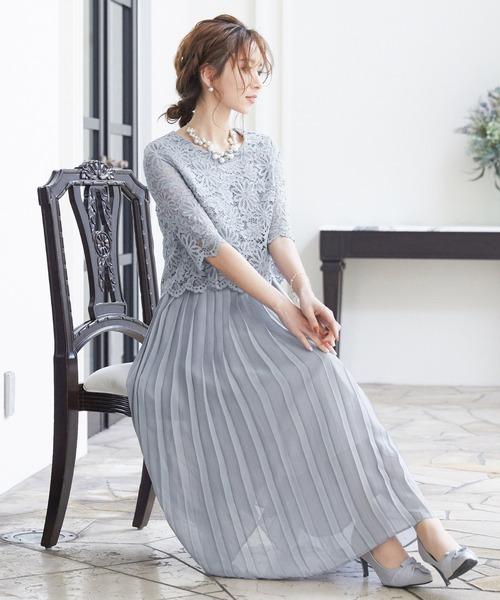 7c79d3f69e00c Fashion Letter(ファッションレター)の「総レースプリーツロングドレス(ドレス)