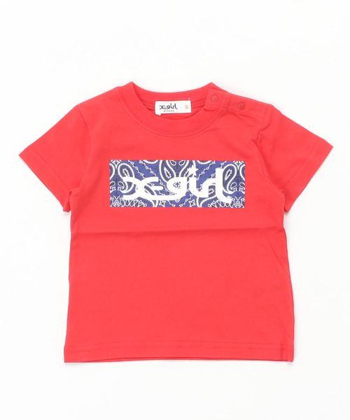 バンダナ柄ボックスロゴ半袖Tシャツ