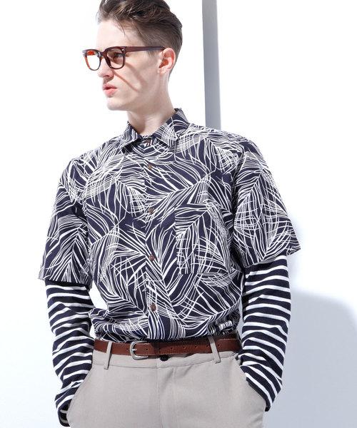 綿麻リーフ柄レギュラーカラー半袖シャツ