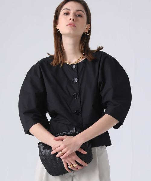 【chuclla】【2021/SS】Curve silhouette collarless blouse sb-5 chw1423