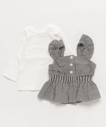 petit main(プティマイン)のギンガムチェック長袖Tシャツ(Tシャツ/カットソー)