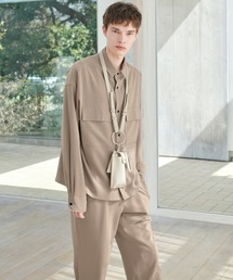 【セットアップ】ブライトポプリン レギュラーカラー L/S オーバーサイズ ドレープ CPOシャツ&ワイドアンクルシェフパンツ EMMA CLOTHES 2020AWベージュ