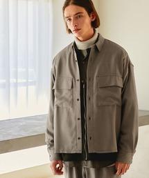 【セットアップ】ブライトポプリン レギュラーカラー L/S オーバーサイズ ドレープ CPOシャツ&ワイドアンクルシェフパンツ EMMA CLOTHES 2020AWベージュ系その他