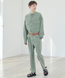 【セットアップ】ブライトポプリン レギュラーカラー L/S オーバーサイズ ドレープ CPOシャツ&ワイドアンクルシェフパンツ EMMA CLOTHES 2020AWグリーン系その他