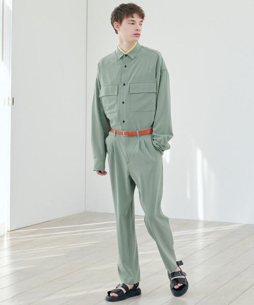 【セットアップ】ブライトポプリン レギュラーカラー シャツジャケット L/S オーバーサイズ CPOシャツ&ワイドアンクルシェフパンツ EMMA CLOTHES 2021SPRING