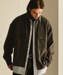 【セットアップ】ブライトポプリン レギュラーカラー L/S オーバーサイズ ドレープ CPOシャツ&ワイドアンクルシェフパンツ EMMA CLOTHES 2020AWブラウン