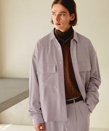 【セットアップ】ブライトポプリン レギュラーカラーシャツ L/S オーバーサイズ CPOシャツ&ワイドアンクルシェフパンツ ワンマイルウェアライラック