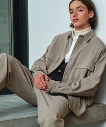 【セットアップ】ブライトポプリン レギュラーカラー L/S オーバーサイズ ドレープ CPOシャツ&ワイドアンクルシェフパンツ EMMA CLOTHES 2020AWグレイッシュベージュ