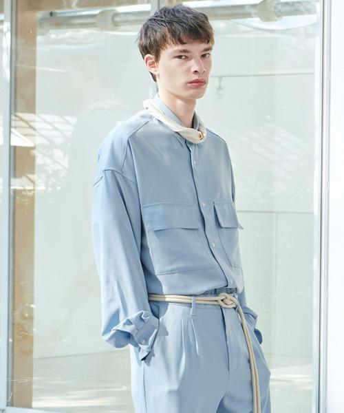 【セットアップ】ブライトポプリン レギュラーカラーシャツ L/S オーバーサイズ CPOシャツ&ワイドアンクルシェフパンツ ワンマイルウェア