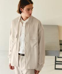 【セットアップ】ブライトポプリン レギュラーカラー L/S オーバーサイズ ドレープ CPOシャツ&ワイドアンクルシェフパンツ EMMA CLOTHES 2021SPRINGキナリ