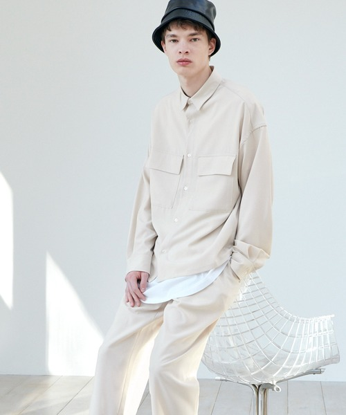 【セットアップ】ブライトポプリン レギュラーカラー L/S オーバーサイズ ドレープ CPOシャツ&ワイドアンクルシェフパンツ EMMA CLOTHES 2021SPRING