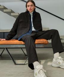 【セットアップ】ブライトポプリン レギュラーカラー L/S オーバーサイズ ドレープ CPOシャツ&ワイドアンクルシェフパンツ EMMA CLOTHES 2021SPRINGブラック