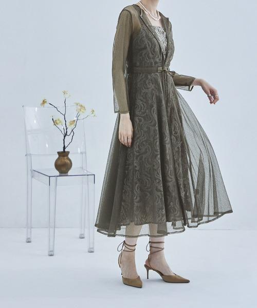etoll.(エトル)の「幾何学チュールジャガードワンピ レディース ドレス 21SS(ドレス)」|グレイッシュベージュ