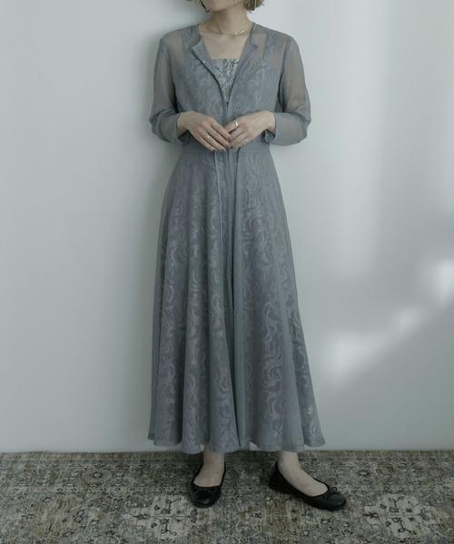 [Fashion Letter] 幾何学チュールジャガードワンピースドレス 結婚式