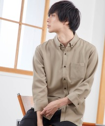 T/R ストレッチボタンダウンシャツ(3/4 sleeve)ベージュ