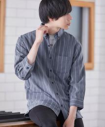 T/R ストレッチボタンダウンシャツ(3/4 sleeve)ストライプ