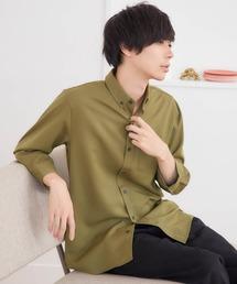 T/R ストレッチボタンダウンシャツ(3/4 sleeve)オリーブ