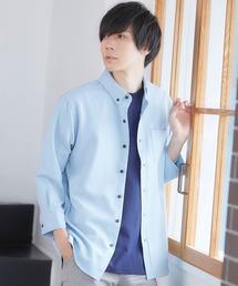 T/R ストレッチボタンダウンシャツ(3/4 sleeve)サックスブルー