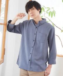 T/R ストレッチボタンダウンシャツ(3/4 sleeve)インディゴブルー