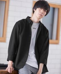 T/R ストレッチボタンダウンシャツ(3/4 sleeve)ブラック