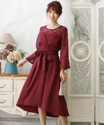 871e6915d9252 ドレス ワンピース(ドレス ワンピース)の「フレアスリーブビスチェドレス(ドレス