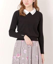MISCH MASCH(ミッシュマッシュ)のレース衿ビジュー刺繍2WAYニット(ニット/セーター)