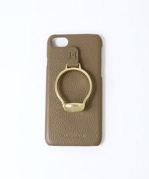 【 Hashibami / ハシバミ 】 # iPhone 8/7/6/6s/SE(第2世代) スマホ・携帯カバー 天然石リング付きケースグレイッシュベージュ