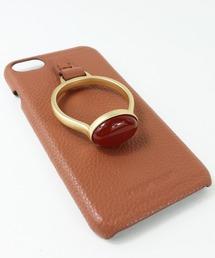 【 Hashibami / ハシバミ 】 # iPhone 8/7/6/6s/SE(第2世代) スマホ・携帯カバー 天然石リング付きケースライトブラウン