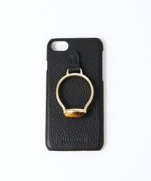 【 Hashibami / ハシバミ 】 # iPhone 8/7/6/6s/SE(第2世代) スマホ・携帯カバー 天然石リング付きケースブラック
