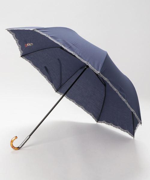 【HELLO KITTY/ハローキティ】 T/C裾クローバー刺繍&スカラー刺繍ショートワイド 晴雨兼用 折りたたみ傘 86320 SGT