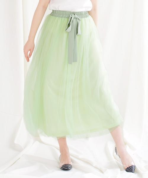 JULIA BOUTIQUE(ジュリアブティック)の「ウエストリボンチュールロングスカート/510619(スカート)」|ミント