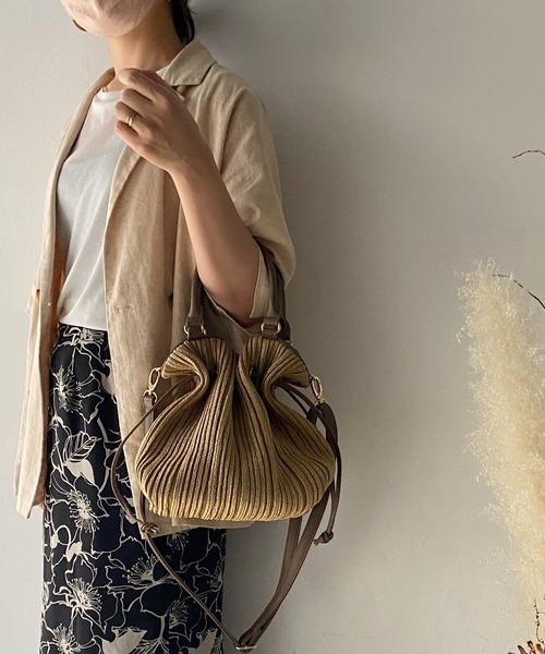VitaFelice(ヴィータフェリーチェ)の「プリーツ 巾着 バッグ トートバッグ レディースバッグ かごバッグ ショルダーバッグ 肩掛け 2way 編み込み 通勤バッグ(かごバッグ)」|ナチュラル