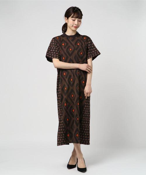 unfil/アンフィル INTARSIA JACQUARD JERSEY T DRESS/インスターシャジャカードジャージTシャツドレス/ワンピース