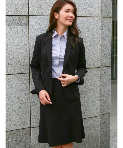 m.f.editorial(エムエフエディトリアル)の「エムエフエディトリアルレディース/m.f.editorial:Women ストレッチウォッシャブル ポンチ1釦ジャケット+スカートビジネスセットアップスーツ(セットアップ)」|ブラック