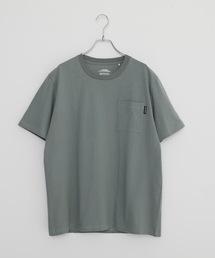 触れるとヒンヤリ接触冷感胸ポケットTシャツカーキ