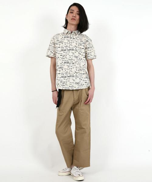 日本製dogプリントオックスフォード半袖シャツ