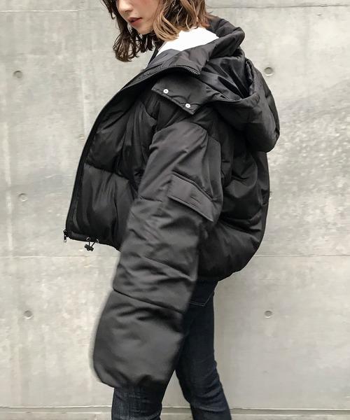 Fashion Letter(ファッションレター)の「フードショートエコダウンジャケット ショートペディン(ダウンジャケット/コート)」|ブラック
