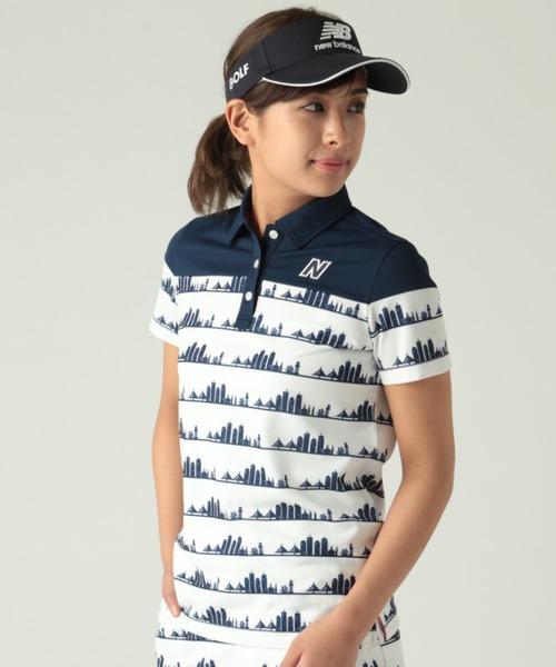 New Balance Golf(ニューバランスゴルフ)の「【new balance golf】シーケンスボーダープリントポロ (WOMENS)(ポロシャツ)」|ネイビー