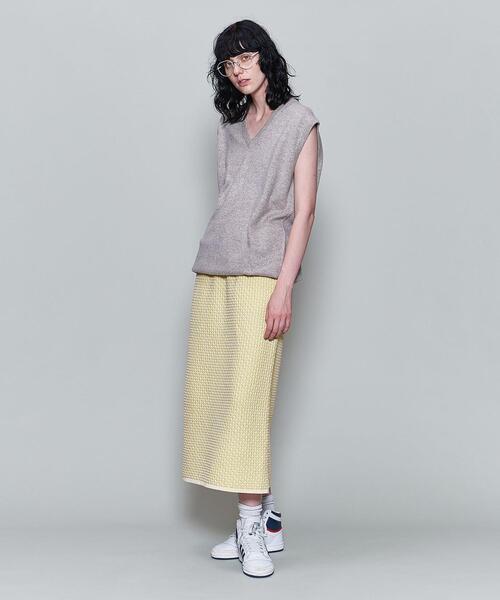 <6(ROKU)>JACQUARD KNIT SKIRT/スカート