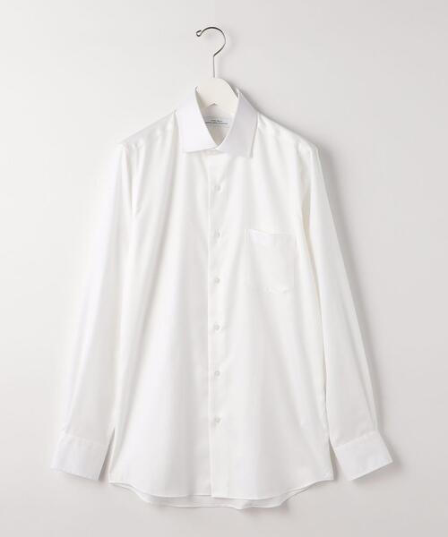 <green label relaxing>Cヘリンボーン スリム セミワイド ドレスシャツ -イージーアイロン-