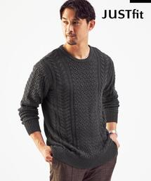 【WEB限定】<green label relaxing> JUSTFIT C/AC アラン ニット