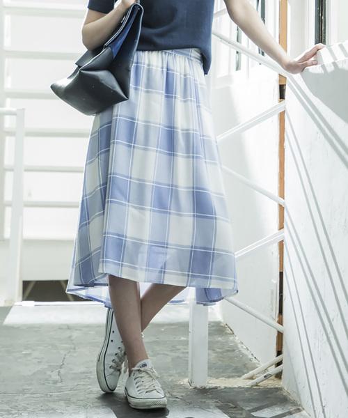 【STYLEBAR】ビッグギンガムチェックボリュームスカート