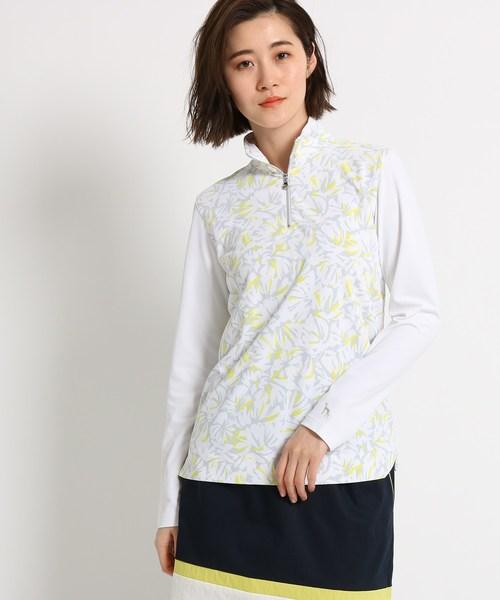 adabat(アダバット)の「【UVカット】【防透け】ボタニカル柄長袖ポロシャツ レディース(ポロシャツ)」 ホワイト系3