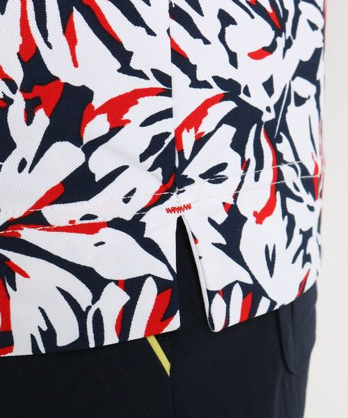 adabat(アダバット)の「【UVカット】【防透け】ボタニカル柄長袖ポロシャツ レディース(ポロシャツ)」 詳細画像