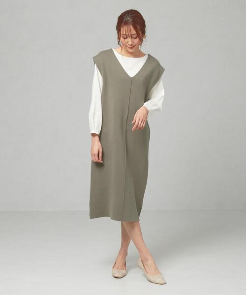 <closet story>□CSC ニット Vネック ジャンパースカート -手洗い可能-