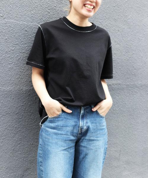 boocmarc by viaj(ブックマークバイヴィアジェイ) ステッチハーフTシャツ
