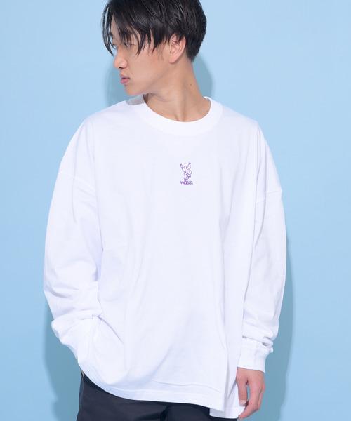 WACHO スケボーベア刺繍 ビッグシルエット ロングTシャツ 長袖Tシャツ ロンT