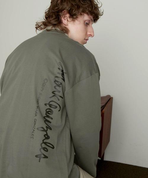 Mark Gonzales/マークゴンザレス EMMA CLOTHES別注 ビッグシルエットロゴ刺繍×バックプリント 長袖 Tee