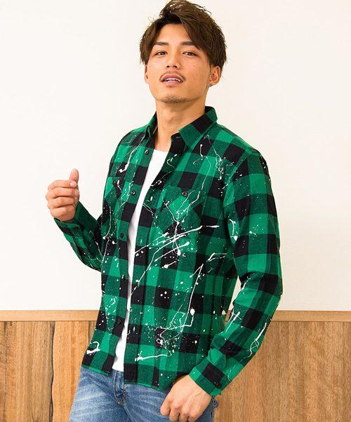 VINTAGE E.L. ペンキ加工ブロックチェック長袖ネルシャツ / 76802-SP